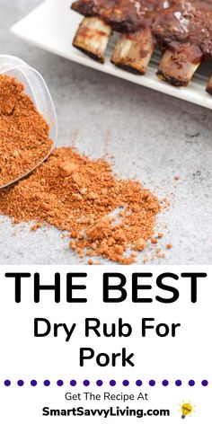 Looking for a rub for a pork butt or ribs? This is the best dry rub recipe for pork hands down! Pork Rib Rub Recipe, Pork Roast Rub, Rub For Pork Ribs, Pork Dry Rubs, Bbq Rub Recipe, Smoked Pork Ribs, Meat Rubs, Pork Rib Recipes, Pork Chop Dry Rub