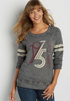 pullover sweatshirt with velvety 1975 graphic | maurices