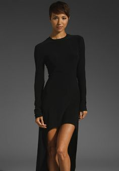 <3 NORMA KAMALI Crew Neck Super High Low Dress in Black at Revolve Clothing - Free Shipping!