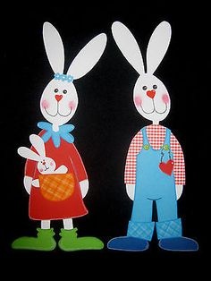 "Fensterbild aus Tonkarton "" Hasenfamilie ""  Ostern Easter Projects, Easter Crafts, Fun Crafts For Kids, Arts And Crafts, Baby Applique, Diy Ostern, Paper Gift Bags, Paper Dolls, Origami"