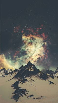 mountains and night sky. #stars #space #lights