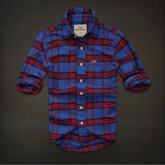 NEW HOLLISTER By Abercrombie MENS CASUAL SHIRT FLANNEL PLAID L Blue