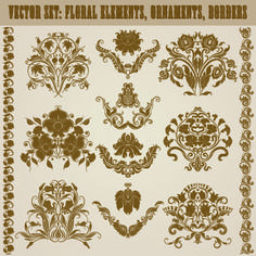 Floral ornaments and borders elements vector 04 - FreeDesignFile.com
