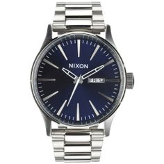 Nixon Men's A3561258-00 Silver Stainless-Steel Quartz Watch with Blue Dial | Overstock.com Shopping - The Best Deals on Nixon