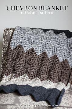 Neutral Chevron Crochet Blanket Pattern   Rescued Paw Designs