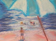 Watching the Children Play at the Beach, 6x8 pastel and watercolor painting