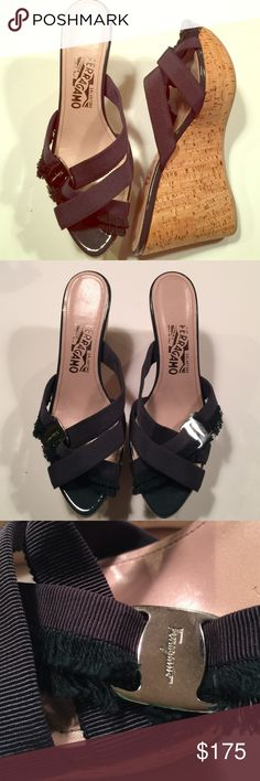 """Ferragamo cork wedges navy grosgrain size 37.5 Salvatore Ferragamo wedges with cork platform and navy grosgrain Strappy vamp.  Platform is 4"""" - 1 1/2"""", heel to toe.  Rubber sole, leather insole with navy patent leather trim.  Pristine pre owned condition. Ferragamo Shoes Platforms"""