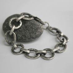 Sterling Silver Bracelet Tribal Pattern Modern Link Heavy @SToNZ, $295.00