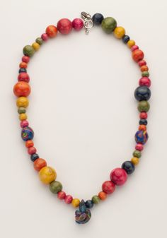 Dreams Rainbow polymer clay bead and wood necklace.