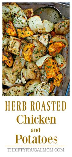 Herb Roasted Chicken and Potatoes is the easiest recipe ever and so incredibly delicious, too. It's sure to be a family favorite!