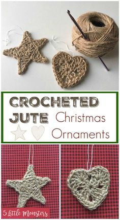 Crochet Patterns Ideas Pattern your jute to look like this DIY tutorial this christmas. Christmas crafts are here! Lets decor like never before. - Easy crocheted jute Christmas ornaments to add a rustic look to your Christmas tree this year! Crochet Christmas Decorations, Crochet Ornaments, Christmas Crochet Patterns, Holiday Crochet, Diy Christmas Ornaments, Crochet Gifts, Yarn Crafts, Holiday Crafts, Diy Crafts