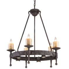 Bold and authentic with an old-world style, this handsome Cambridge 10-light chandelier features a rustic, medieval-inspired design with a metal ring supporting five candelabra lights. The fixture is
