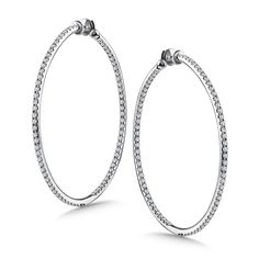 Diamond Reflection Hoops in 14K White Gold with Platinum Post.