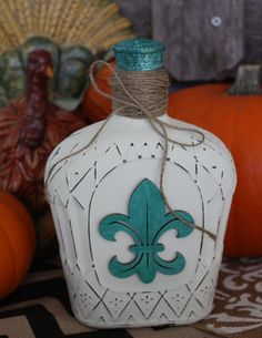 Beautiful Shabby Chic Hand Painted Crown Bottle with Cap, Antique White Chalk Paint, Distressed with Teal/Turquoise Fleur De Lis