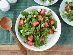 Arugula, Watermelon and Feta Salad - Salty feta + peppery arugula + sweet watermelon = a surprisingly perfect mix of flavors for a summer side or light lunch. Add freshly chopped mint leaves to the mix (like Ina Garten does) before dressing the salad to bring it all together.