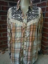 NEW Gimmicks By BKE The Buckle Button Up Distressed Lace Aztec Top Large