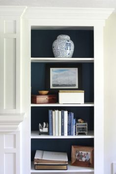 Back of bookcases painted with BM Gentleman's Gray