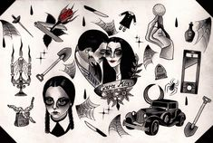 Original flash print inspired by the 1991 film 'The Addams Family' by Kathryn KirkVery limited quantities available!