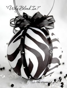 Zebra Print Ornaments | One available now in my etsy shop …and as always, I will gladly take ...