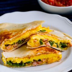 Jalapeno and Canadian Bacon Breakfast Quesadillas Recipe -Make these quesadillas as spicy as you'd like by adjusting the amount of jalapeno. Complete with Canadian Bacon, eggs and cheese, you can't go wrong. Recipe provided by Jones Sausage