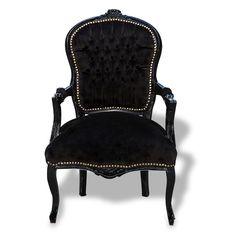 Black on Black Velvet Chair