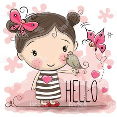 Illustration about Cute Cartoon Girl with a bird and butterfly. Illustration of baby, butterfly, flower - 91721459 Cartoon Drawings, Cute Drawings, Cute Images, Cute Pictures, Pictures Images, Cute Cartoon Girl, Cartoon Clip, Cartoon Memes, Cartoon Characters