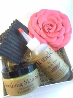 AntiItch Gift Set Soothing Skin Salve Scalp Oil & by KjNaturals, $29.99