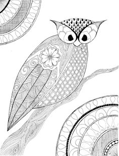 zentangle owl coloring page available as pdf for easy printing