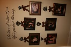 ...love the idea of hanging the picture frames  from the ribbon.