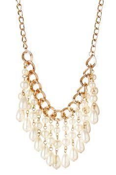 Pearl Chain Bib Statement Necklace