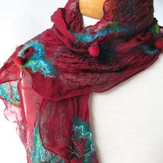 Nuno felted scarf in cranberry teal and green by BlindSquirrel