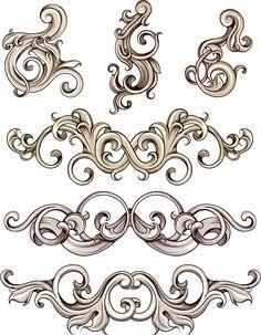 Decorative ornate elements set vector