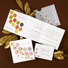 Capture the fall look with this invitation. Your names and wedding date are printed on the front along with autumn-colored dots that are accented by falling leaves on the translucent pocket. Personalize this invitation with the lettering style and ink color of your choice.