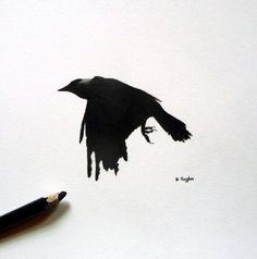 Jackdaw original charcoal sketch, crow drawing, original art, charcoal drawing, pencil drawing