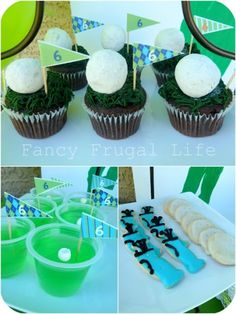 The golf party (for adults the bottom left could be jello shots, the ball is a rolled mini marshmallow)