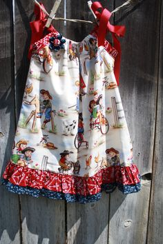 Cowgirl Pillowcase Dress with Vintage by SweetnChicBoutiques, $20.00  I love this material
