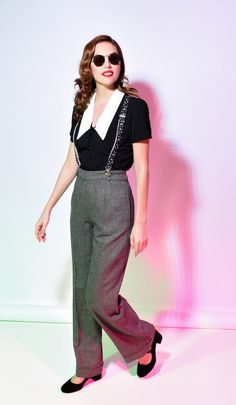 Banned 1940s Style Grey Herringbone Lady Luck Wide Leg Pants