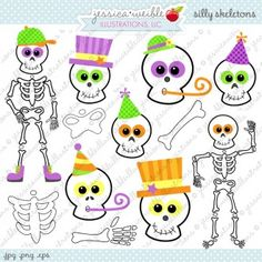 Silly Skeletons - Cute and Funny Skeleton Clipart