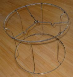 """Vintage Thick Metal Wire Lamp Shade Frame Drum Style 11""""H X 13.5"""" W Refurbish"""