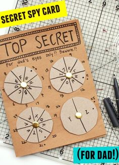 This DIY Father's Day Card has it all! This DIY Father's Day Card has it all! Write a secret message for dad to decode on Father's Day! Escape Room Diy, Escape Room For Kids, Escape Room Puzzles, Escape Puzzle, Father's Day Diy, Diy Father's Day Gifts, Gifts For Kids, Message For Dad, Message Card