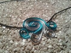 Aludrahtanhänger,  Farbe Türkis & Silber,