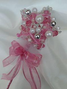 Cinderella Heart/Star Wand Brides Bridesmaids Brooch Bouquet  Jewelled Wedding Accessory Handmade Flowers Pink on Etsy, £35.00