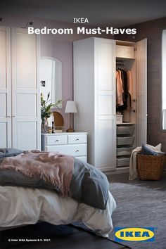 Find cozy sheets and comforters, storage solutions that keep you organized, and that perfect reading light - because your bedroom should be fit for sweet dreams. Gray Bedroom, Closet Bedroom, Ikea Bedroom Furniture, Ikea Wardrobe, Bedroom Fireplace, Teenage Girl Bedrooms, Ikea Pax, Fashion Room, Storage Solutions