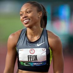 Allyson Felix; one serious/scary zoned in before a race, but adorable athlete. You can't help but love her.