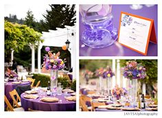 They had a pretty purple and orange wedding