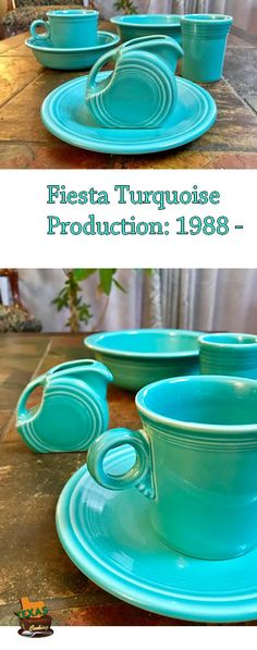 Talking about Turquoise Fiesta dishes, the popular Fiesta color introduced in Fiesta Colors, Homer Laughlin, Periwinkle Blue, Vintage Dishes, Shades Of Blue, Dinnerware, China, Turquoise, Popular