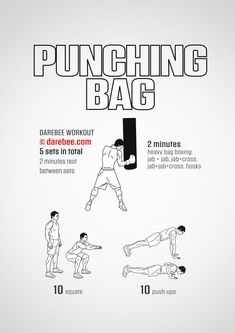 Punching bag workout is a combat skills workout designed to help you develop speed and power. Boxing Workout With Bag, Boxing Workout Routine, Boxing Training Workout, Boxer Workout, Punching Bag Workout, Heavy Bag Workout, Mma Workout, Kickboxing Workout, Gym Workout Tips