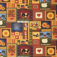 Farm and Homestead Fabric, Take Me Home by Fabri-Quilt, Rustic Cotton Fabric for patchwork, quilting and crafts  Take Me Home by Fabri-Quilt is a lovely pure cotton rustic fabric with a gorgeous pattern of farm and homestead animals and activities in gorgeous warm golden brown and deep red colours.  The fabric is divided into squares and rectangles depicting different homely scenes of cows, sheep, a farm house, fruit trees in pots, apple trees, sunflowers, baskets of fruit, a farmhouse…