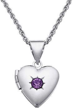 802b54415ed94 Silvertone February Birthstone Locket With Swarovski® Crystals Birthstones