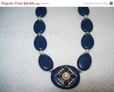 JULY 4th SALE NRT necklace Blue and faux pearl by vintagebyrudi